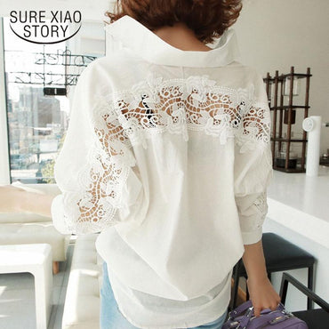 backless sexy Hollow Out Lace Blouse