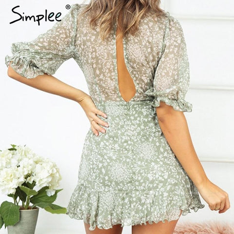 Sexy v-neck vintage boho women dress