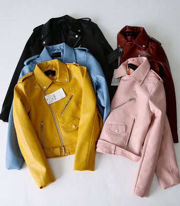 Classic Leather Long Sleeved Yellow PU Coat 5 Color  jackets & Coats
