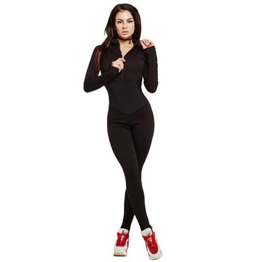 full sleeve zipper turtleneck skinny slim casual jumsuits