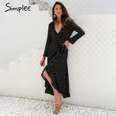 Polka dot ruffle wrap long women dress