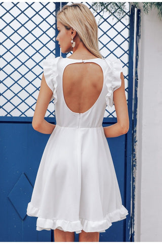 Sexy ruffle backless O neck sleeveless dress