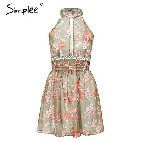 Bohemian floral print backless bow tie chiffon mini dress