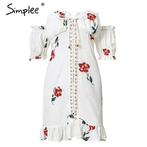 Sexy off shoulder print women dress
