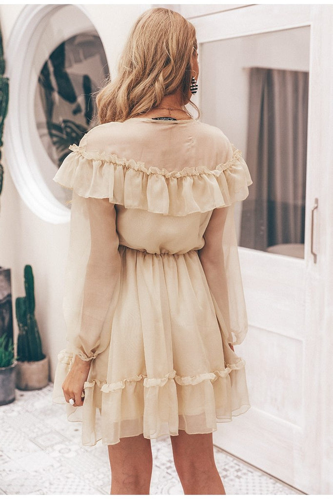Sexy v neck ruffle women Vintage dress