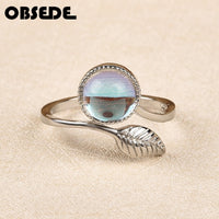 Jewelry Natural Stone Leaves Rings