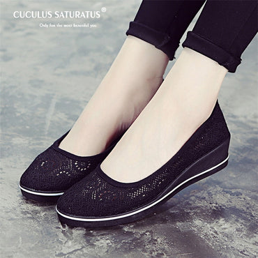 Solid  Platform Casual  flat Shoes