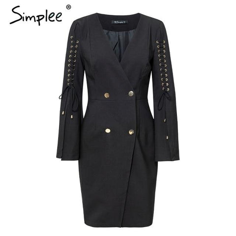 Elegant lace up split blazer women dress