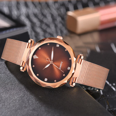 Women Quartz Watches Stainless Steel Band Mesh Magnet  Wrist Watch