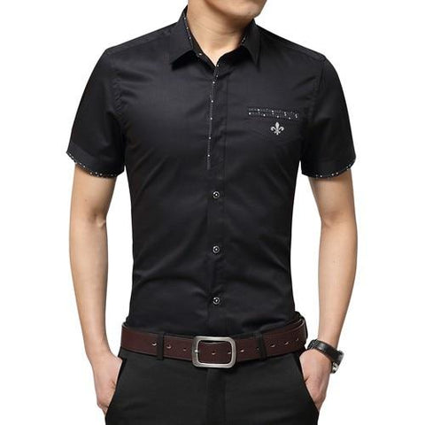 New Brand Male shirt Embroidery Men's patchwork color Short Sleeve Casual Fashion Shirts