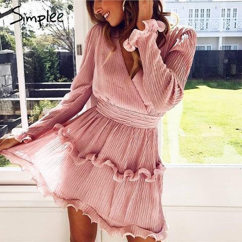Simplee Elegant pleated chiffon women dress summer
