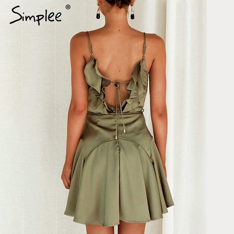 Sexy backless women dress Spaghetti strap