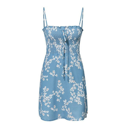 Print Floral Short Sexy Dress Straight Spaghetti Strap Twist Dress