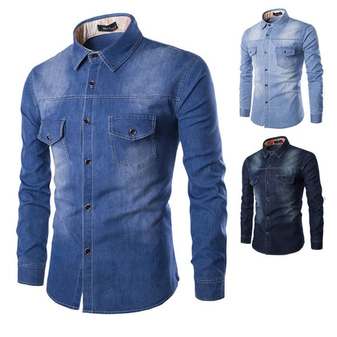 Cardigan Casual Fashion Two-pocket Slim Fit Long Sleeve Shirts