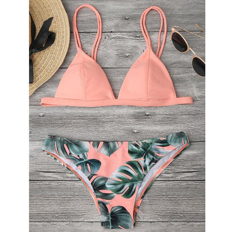 Women Split Bikini Set Tropical Leave Print Brazilian Swimwear