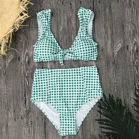 Sexy High Waist Bikini Swimwear Women Swimsuit Plaid  Vintage  Suit Padded Bikinis