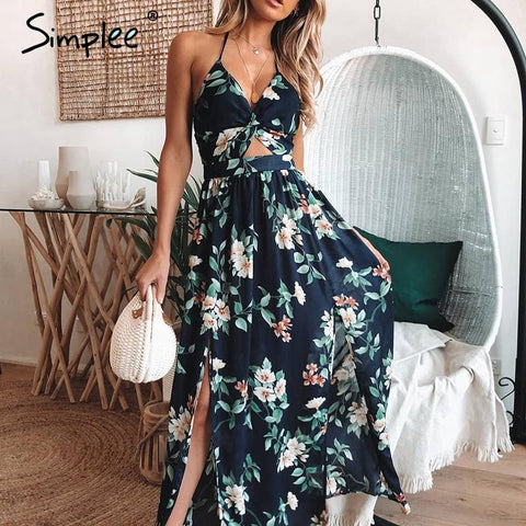 Sexy v neck Floral print backless maxi long dress