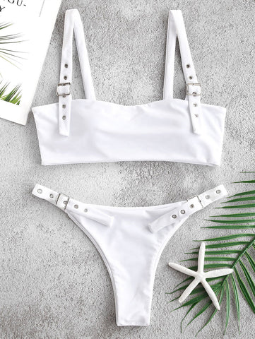 Sport Solid Eyelet Buckle Top With High Leg Bikinis Set