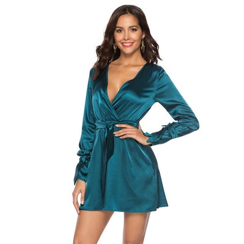Satin Sexy Deep V Neck Tied Bandage Elastic High Waist A-Line Mini Dress