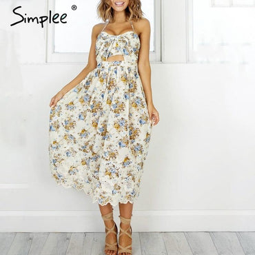 Simplee Vintage print beach summer dress