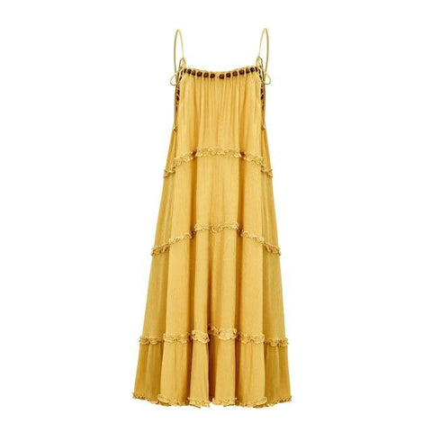 Bohemian Sleeveless Wooden bead Dress Ruffle Trim Dress