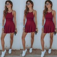 Casual Sleeveless Solid Beach Dress