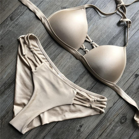 Hot Sale Sexy Beach Bikini Set Mid Waisted Fashion Women Solid Color Swimwear