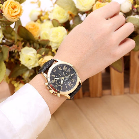 New Women's Watches Fashion Roman Numerals Faux Leather Analog Quartz Wrist Watch