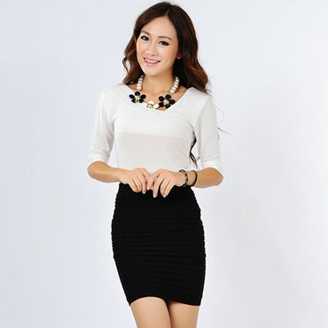 Elastic concise Bodycon Solid Color Pleated short skirt