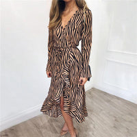 Zebra Print Ruffles Chiffon Dress