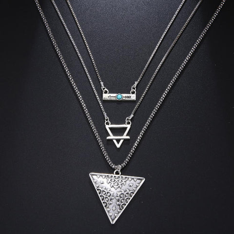 New Vintage Silver Triangle Pendant Chokers Necklaces