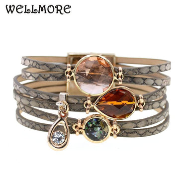 women bracelets glass leather bracelets bohemia charm bracelets