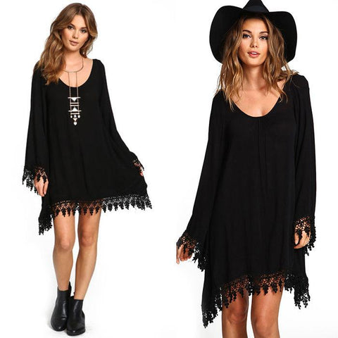 Boho Lace long sleeve black sexy dress
