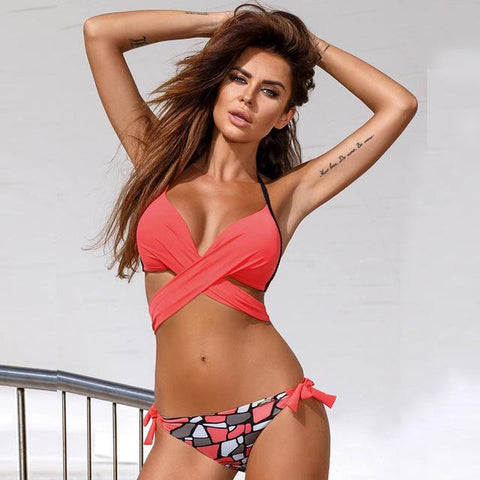 Push Up Cross Patchwork Women Swimwear