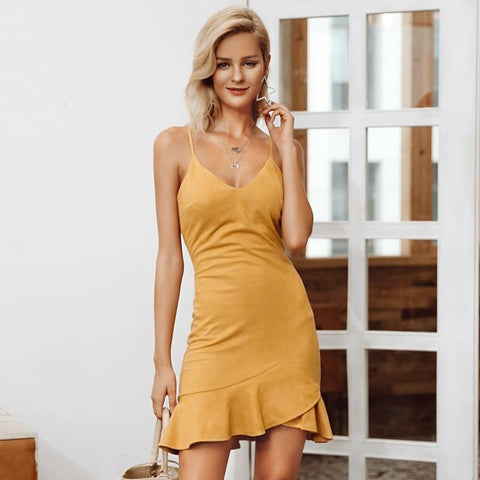 Sexy v neck ruffle strap mini dress