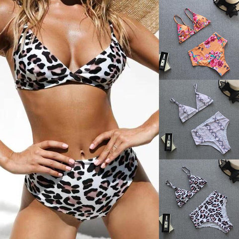Summer Sexy Women High Waisted Leopard Serpentine Print Bikini Set