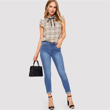 Apricot Knot Neck Frill Trim Plaid Top Summer Sleeveless Blouse Women Stand Collar Elegant Office Lady Preppy Blouses