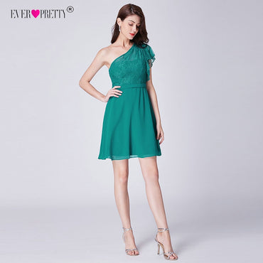 Green A-line One shoulder Lace Short Party Dress