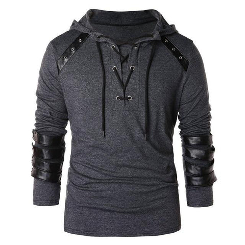 Drawstring Leather Patchwork Sweatshirt
