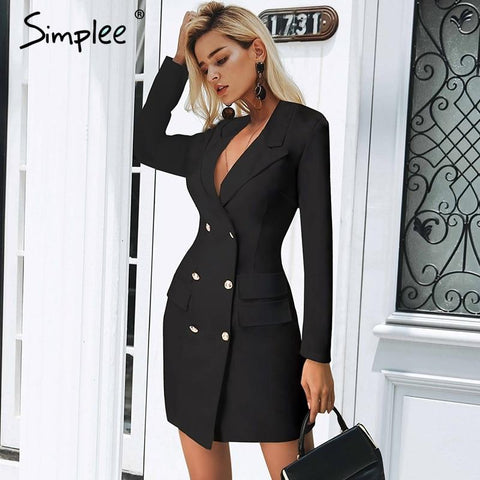 Elegant double breasted bodycon dress
