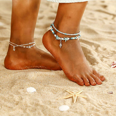 Bohemian style layered ankle beads chain