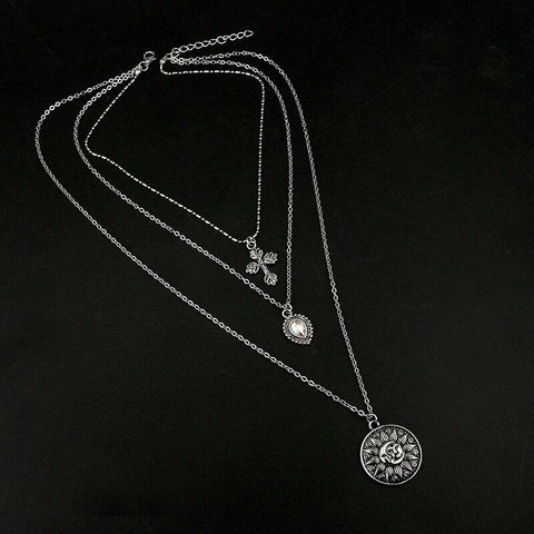 Tocona Multi-Layered Cross Moon Rhinestone Necklace Silver Chain Chokers Necklaces