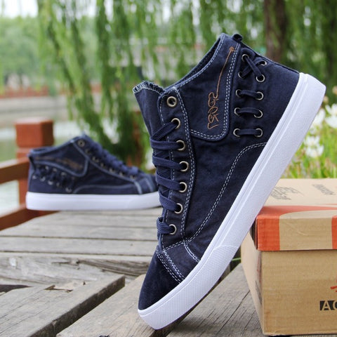 Men Denim Casual Shoes Fashion Sewing Platform Sneakers Breathable Male High top Canvas Shoes