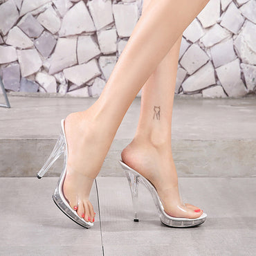 Slippers Crystal Thin Heel