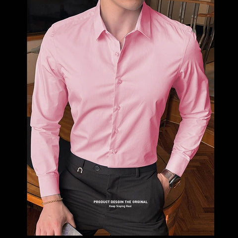 Solid Slim Fit Male Social Casual Business White Black Dress Shirt