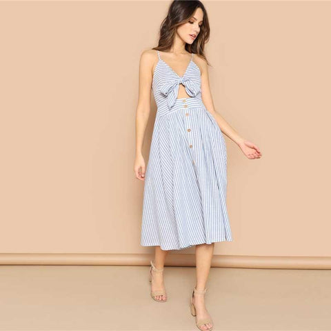 Boho Blue Mixed Striped Knot Plunging Cami Long Summer Dress