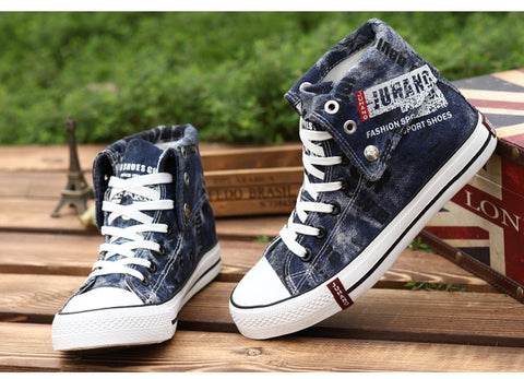 Summer Lightweight Denim Canvas Shoes Fashion Men Breathable High Top Sneakers Graffiti Flats Shoes