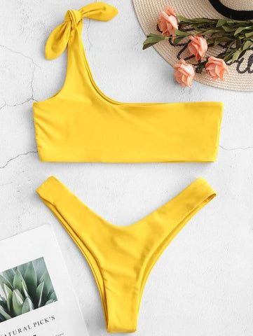Sexy Low Waisted Bralette One Shoulder Swimsuit