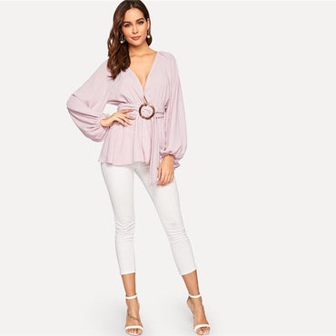 Balloon Sleeve Plunging Peplum Top With O-ring Blouse Elegant  Deep V Neck Bishop Sleeve Top Blouses
