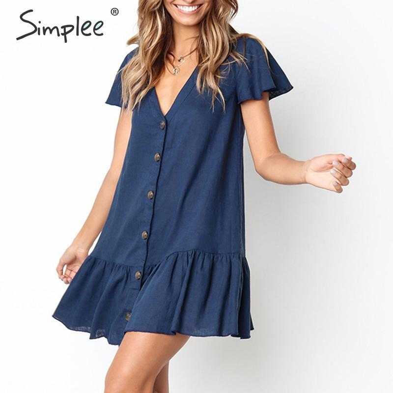 Linen ruffle buttons loose female mini dresses